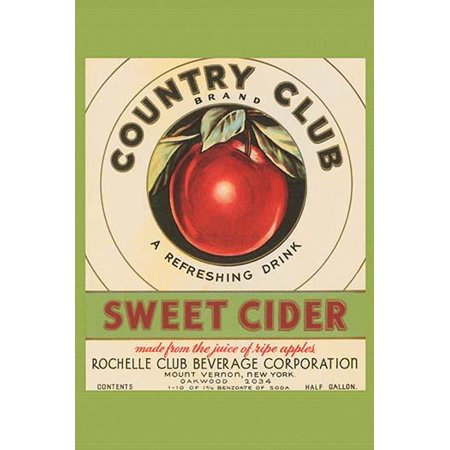 The Rochelle Club Beverage Co of Mount Vernon New York used this label on its bottles of sweet apple cider  Made from the juice of ripe apples Poster Print by