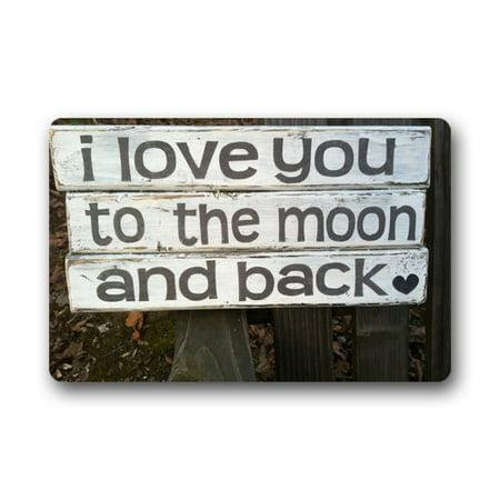 WinHome I Love You to the Moon and Back Doormat Floor Mats Rugs Outdoors/Indoor Doormat Size 23.6x15.7 inches ()