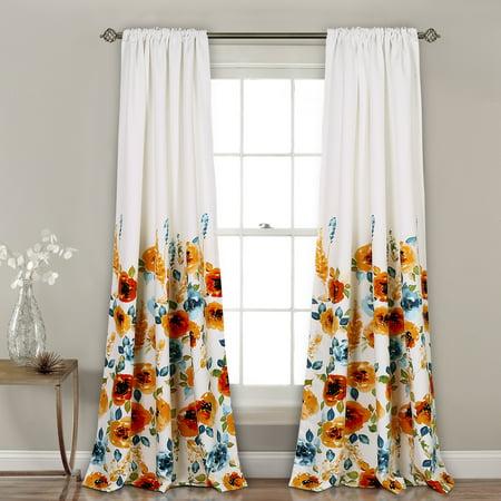 Percy Bloom Room Darkening Window Curtain Tangerine/Blue 52x84 Set