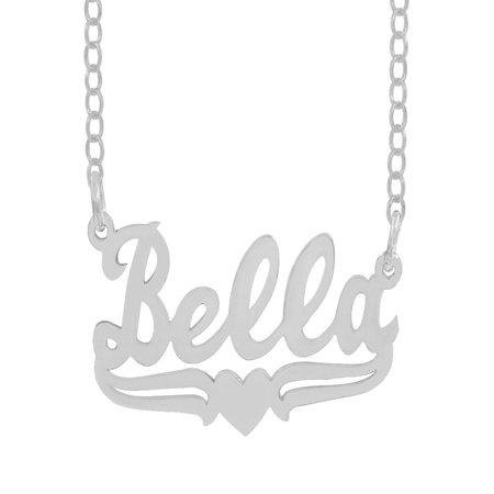 """Personalized Sterling Silver, Gold Plated, 10k or 14k Single Nameplate Necklace With Tail and Heart, 18"""" Chain"""