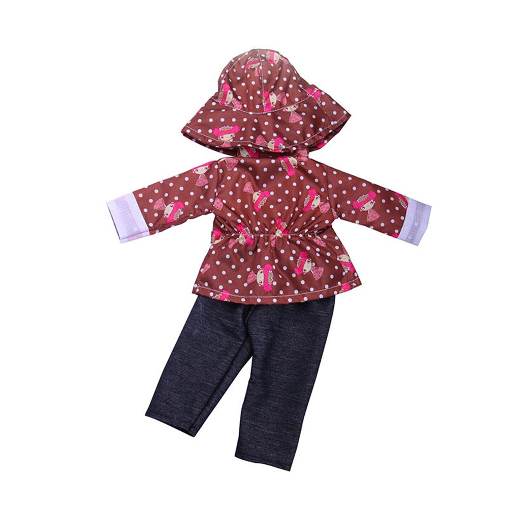 Mosunx DIY Doll Raincoat 3-Piece Suit For 18 inch Doll Baby Kids Gifts Party Clothes