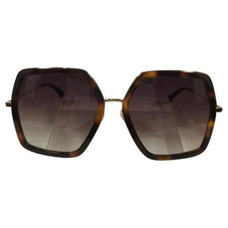 Gucci GG 0106S 002 Avana Gold Brown Plastic Sunglasses 56mm