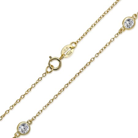 Minimalist Simple Wrap CZ By The Yard Tin Cup Chain Necklace For Women 14K Gold Plated 925 Sterling Silver 16 Inch - image 2 of 3