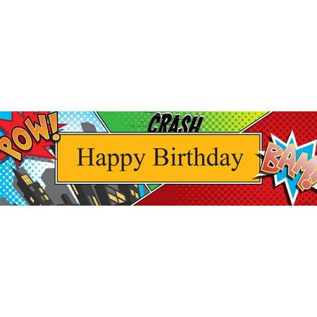 Superhero Comics Birthday Banner, Standard - Comic Book Banner