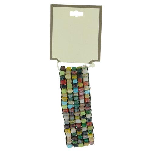Multi Glass Square Bead Stretch Bracelet