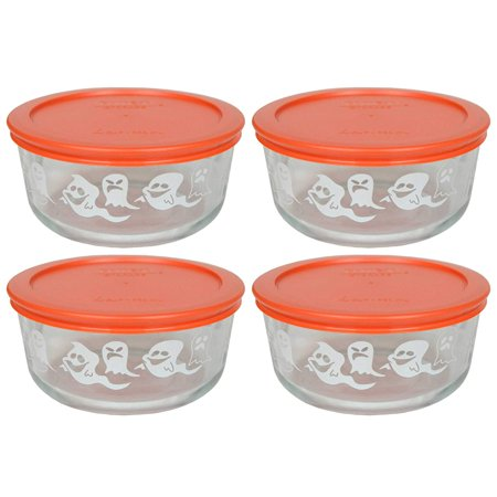 Pumpkin Plastic Bowl - (4) 7201 4 Cup White Ghost Glass Bowls & (4) 7201-PC Pumpkin Orange Plastic Lids, Genuine Pyrex Replacement Lids and Bowls By Pyrex