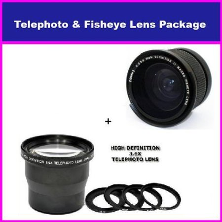 3.5X HD Professional Telephoto lens & 0.35x HD Super Wide Angle Panoramic Macro Fisheye Lens For Fuji Finepix Fujifilm FinePix HS10 S9500 S9100 S9000 S6000 S3 S2 S1