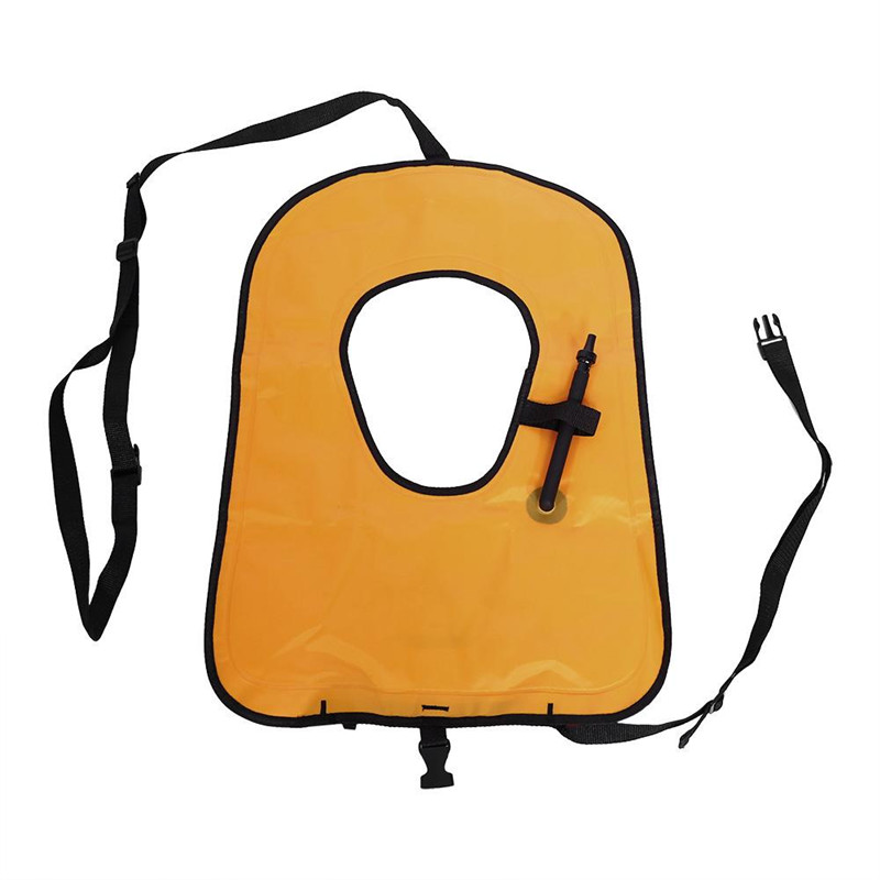 Inflatable Life Jacket Inflatable Life Vest Snorkeling Buoyancy Swimming Floating Vest for Adult Orange
