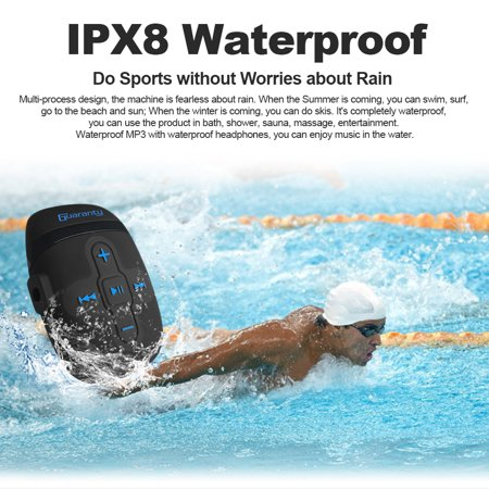 IPX8 Waterproof MP3 Player 8GB Music Player with Headphones Clip Design for Swimming Running Diving Black - image 6 de 7