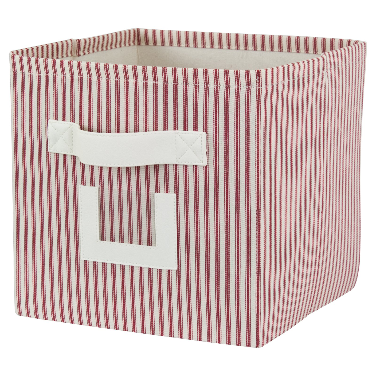 Brite Ideas Stripe Red Storage Bin with Handle