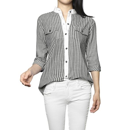Women Vertical Stripes Stand Collar Short Sleeves Button Down (Black Striped 2 Button Suit)