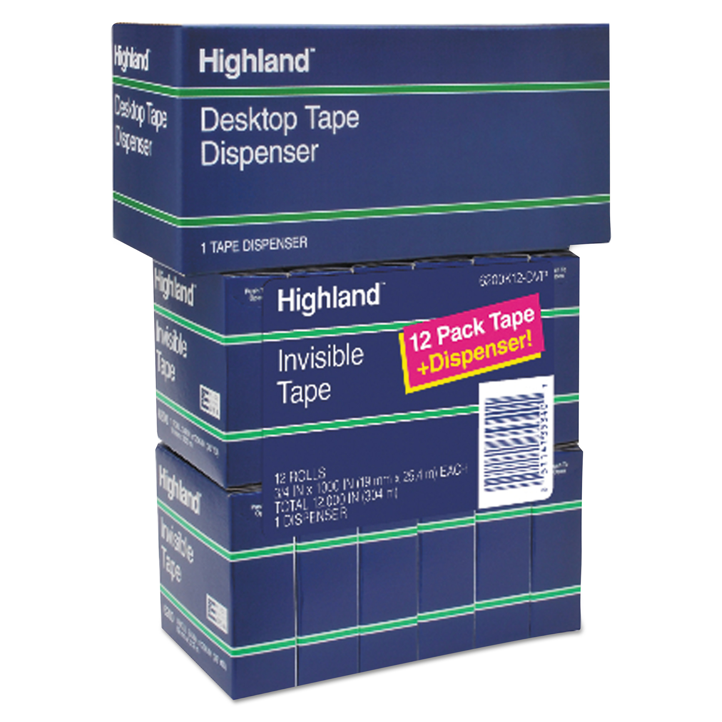 "Highland Invisible Permanent Mending Tape, 3/4"" x 1000"", 1"" Core, Clear, 12/Pack"