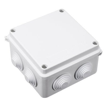 - 100x100x70mm ABS IP65 Waterproof 7 Cable Entries Square Junction Box Case