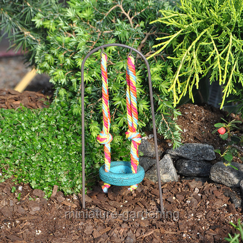 Studio-M Rainbow Tire Swing for Miniature Garden, Fairy Garden