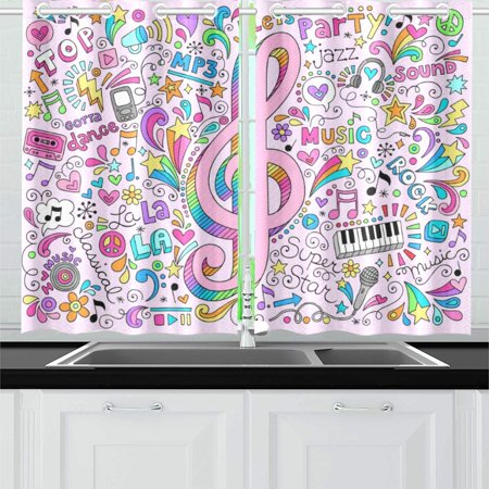 YUSDECOR Music Clef Window Curtain Kitchen Curtain 26x39 inch,Two Piece - image 1 of 3