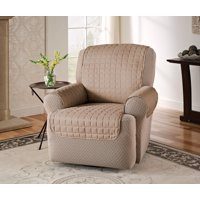 Innovative Textile Solutions 1-Piece Microfiber Solid Furniture Recliner/Wing Chair Protector Slipcover, Natural