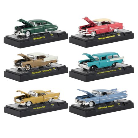 Auto Thentics 6 Piece Set Release 53 IN DISPLAY CASES 1/64 Diecast Model Cars by M2 Machines