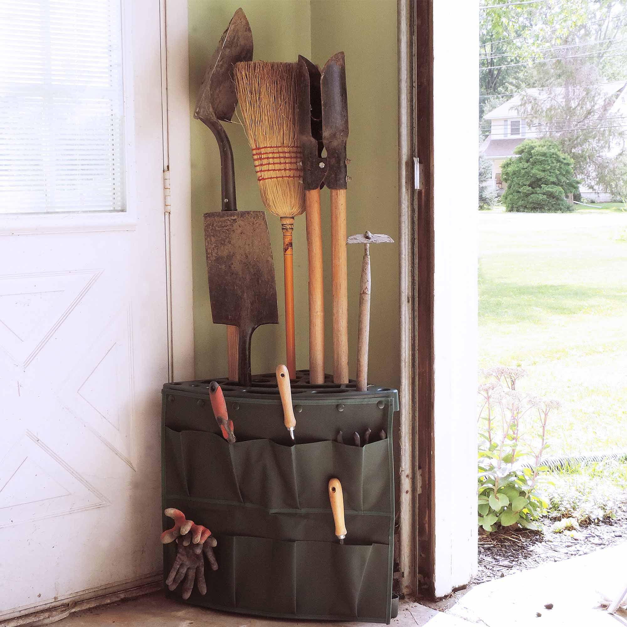 Stalwart Corner Storage Tool Rack Tower with Removable Storage Bag by Trademark Global LLC
