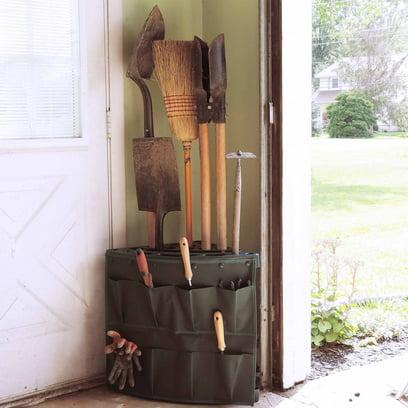 Stalwart Corner Storage Tool Rack Tower with Removable Storage Bag