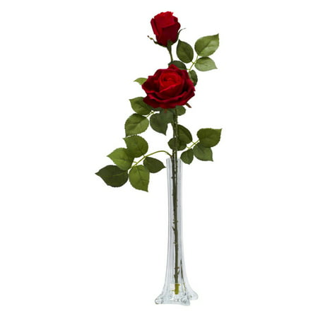 Nearly Natural Roses with Tall Bud Vase Silk Flower - Silk Red Roses