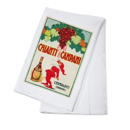 Fine Italian Linen - Chianti Campani Vintage Poster Italy c. 1955 (100% Cotton Kitchen Towel)