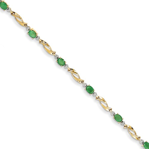 14k Yellow Gold Diamond and Emerald Oval Bracelet. Gem Wt- 1.53ct by Jewelrypot