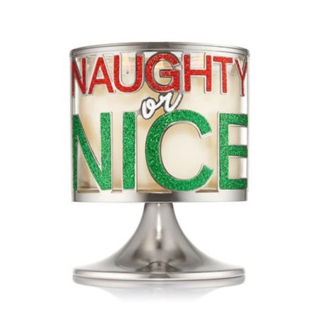 Bath and Body Works White Barn Pedestal 3 Wick Candle Sleeve Holder Naughty or Nice Silver Green Red, Festive candle holder in a silver tone finish By Bath Body Works ()