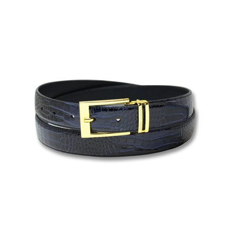 Blue Croc Leather - Biagio Croc Embossed NAVY BLUE Men's Bonded Leather Belt Gold-Tone Buckle
