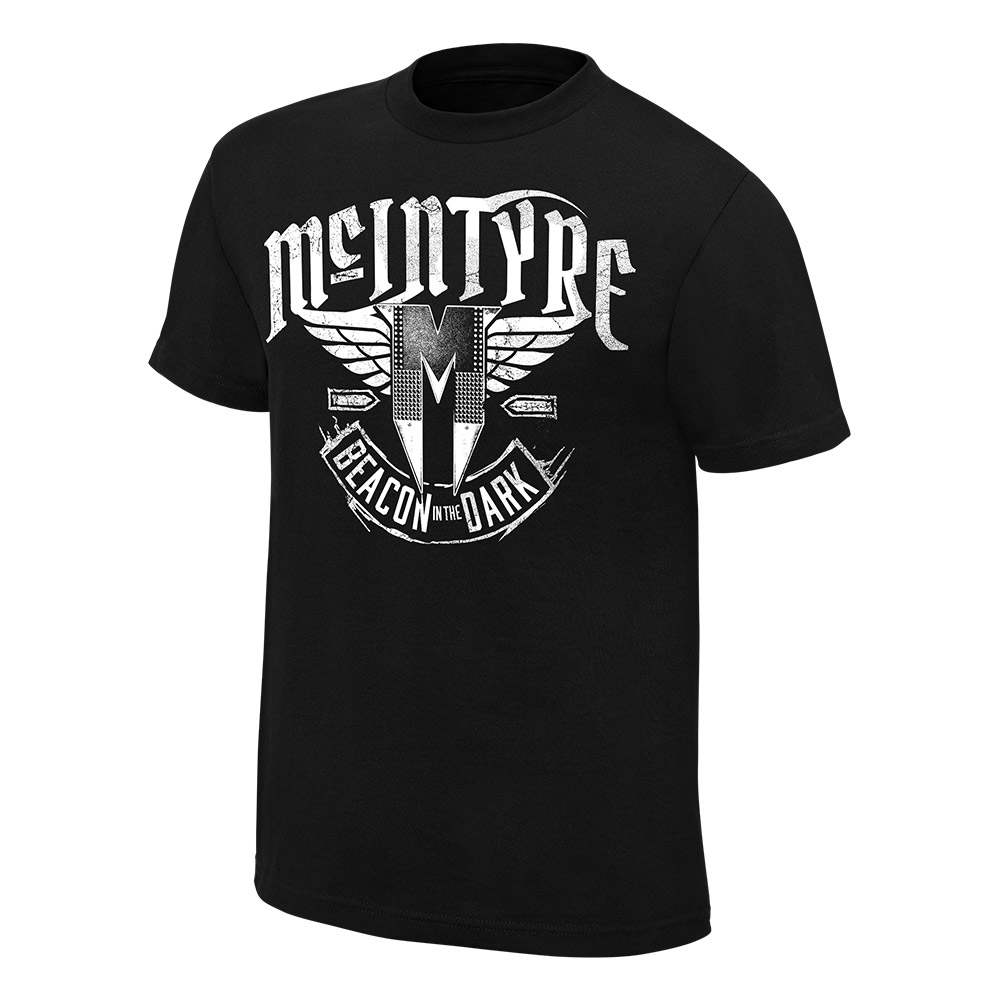 """Official Wwe Authentic Drew Mcintyre """"Beacon In The Dark"""" Youth  T-Shirt Black Small"""