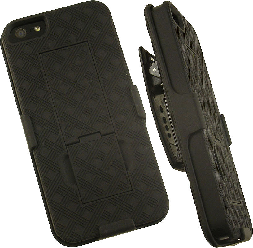 NAKEDCELLPHONE'S BLACK KICKSTAND HARD CASE COVER + BELT CLIP HOLSTER STAND FOR APPLE iPHONE 5 5s