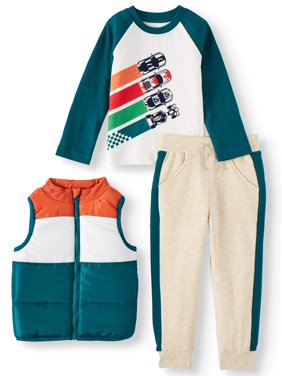 Wonder Nation Puffer Vest, Long Sleeve Graphic T-shirt & Drawstring Joggers, 3pc Outfit Set (Toddler Boys)