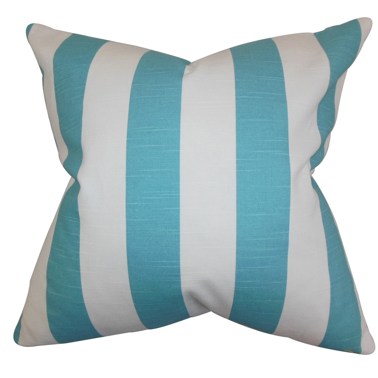 "The Pillow Collection Acantha Stripes 22"" x 22"" Down Feather Throw Pillow Coastal Blue"