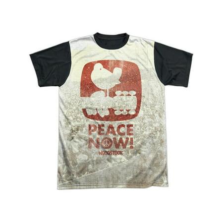 Woodstock Music Festival Peace Now! & Logo Over Photo Adult Black Back - Future Now Music Festival Halloween