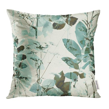 YWOTA Vintage Blurred Monochrome Green Blue and Brown Watercolor and Graphic Floral Pillow Cases Cushion Cover 18x18