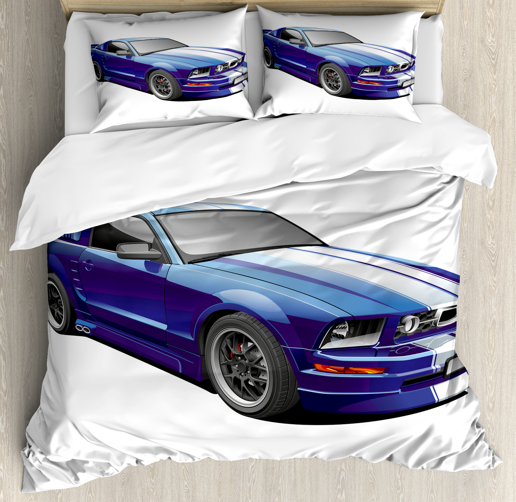 Teen Room Decor Queen Size Duvet Cover Set, American Auto Racing Car Sports Competition... by Kozmos
