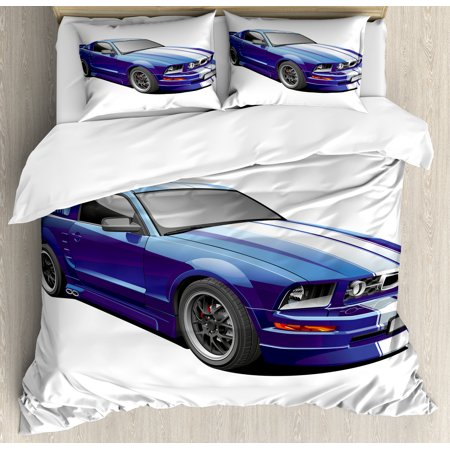 Teen Room Decor Queen Size Duvet Cover Set, American Auto Racing Car Sports Competition Speed Winner Boys Kids Graphic, Decorative 3 Piece Bedding Set with 2 Pillow Shams, Blue Grey, by Ambesonne