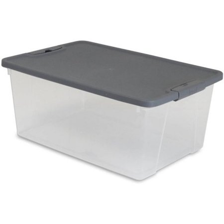 Mainstays 3.75 Gallon Latching Clear Container with Titanium Silver Lid, 2 Piece