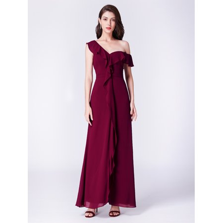 Ever Pretty Womens One Shoulder Ruffled Formal Evening Prom Party Tail Wedding Guest Dresses For Women 07431 Us 14
