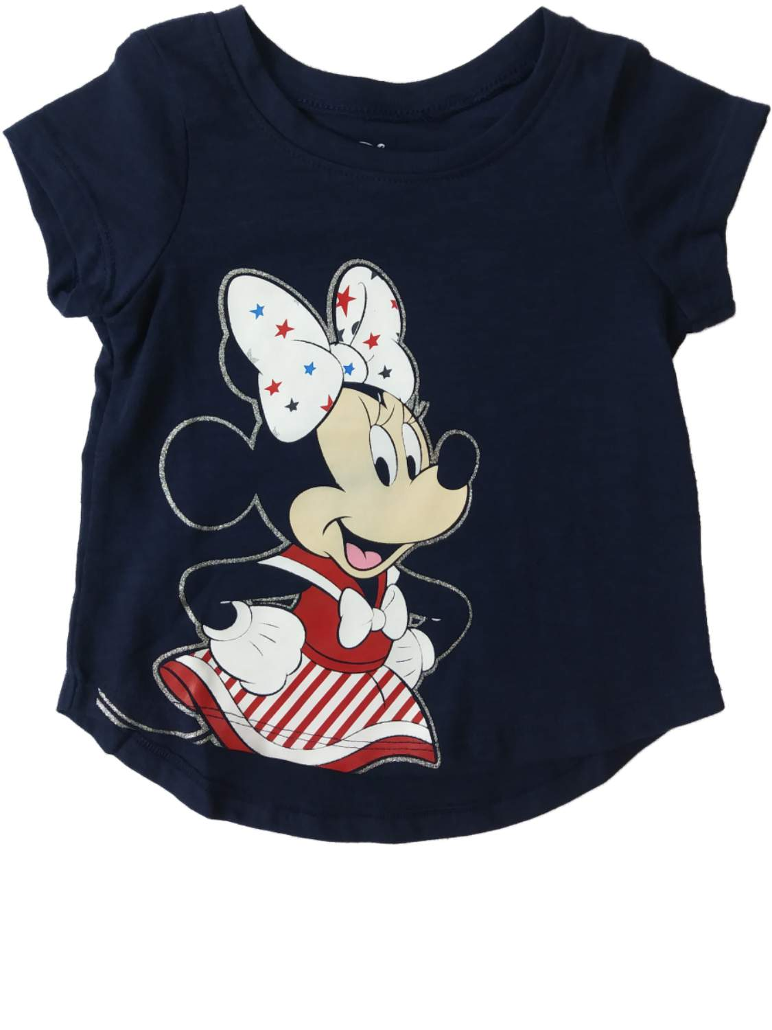 Infant & Toddler Girls Disney Minnie Mouse Blue USA Patriotic Glitter Tee Shirt