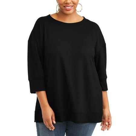 5f4044cd816 Terra   Sky - Women s Plus Scoop Neck Sweatshirt - Walmart.com