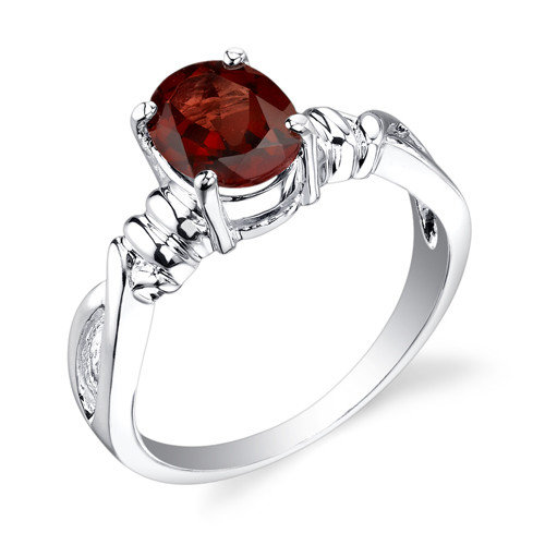 Oravo 1.50 carats Oval Cut Garnet Ring in Sterling Silver