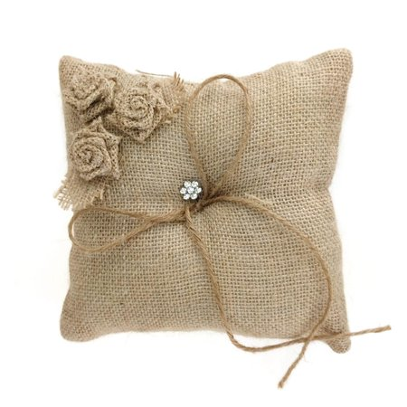 Ring Barer (Burlap Roses and Rhinestone Ring Bearer Pillow, 7-Inch,)