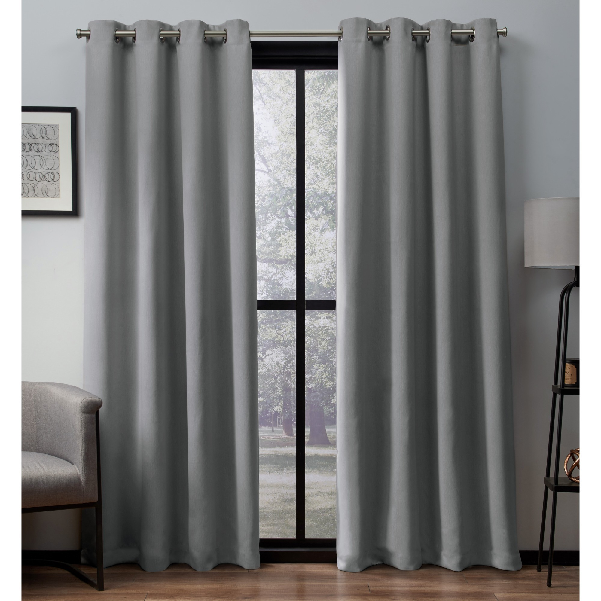 Exclusive Home Heath Textured Linen Window Curtain Panel Pair with Grommet Top