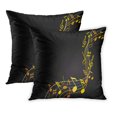 ECCOT Yellow Flowing Music Notes Gold on Black Eighth Sheet Single Key PillowCase Pillow Cover 20x20 inch Set of 2 (Single Sheet Music)