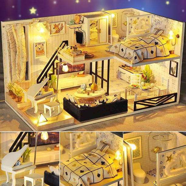 Doll House Wooden Dollhouse Miniature DIY Handcraft Kit 3D with Furniture LED Light House Room Model Doll Play Set Kids Children Girls Boys Toy Birthday Gift