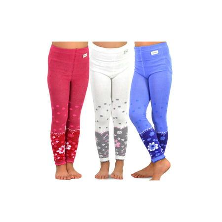TeeHee Kids Girls Fashion Cotton Leggings(Footless Tights) 3 Pair Pack