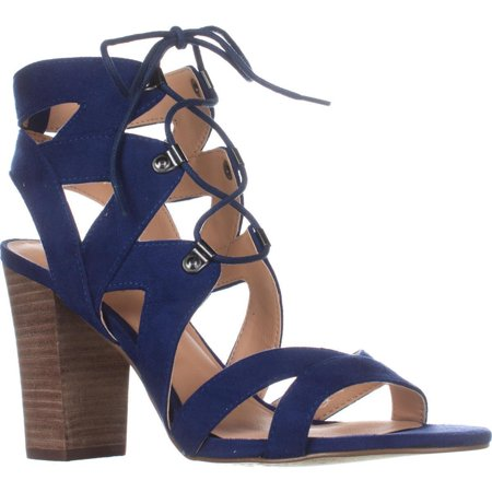 Blue Sandals - Womens XOXO Barnie Heeled Lace Up Sandals, Blue