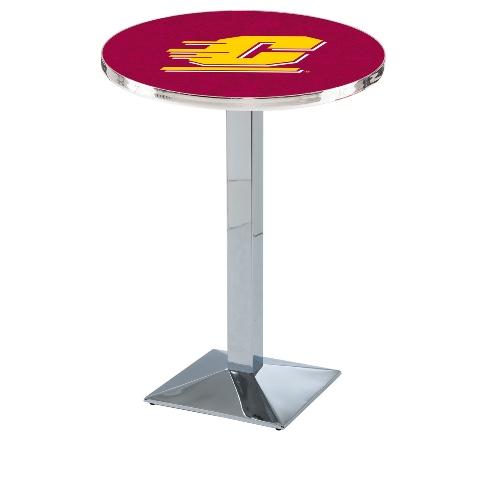 NCAA Pub Table by Holland Bar Stool, Chrome - CMU Chippewas, 42'' - L217