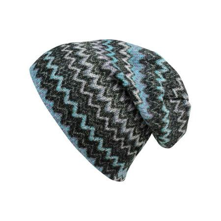 Blue   Gray Chevron Stripe Knit Slouchy Beanie Cap Hat - Walmart.com 24e849ffafe