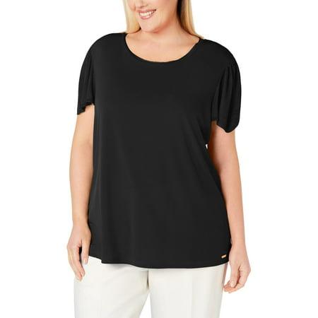Calvin Klein Womens Plus Knit Solid T-Shirt